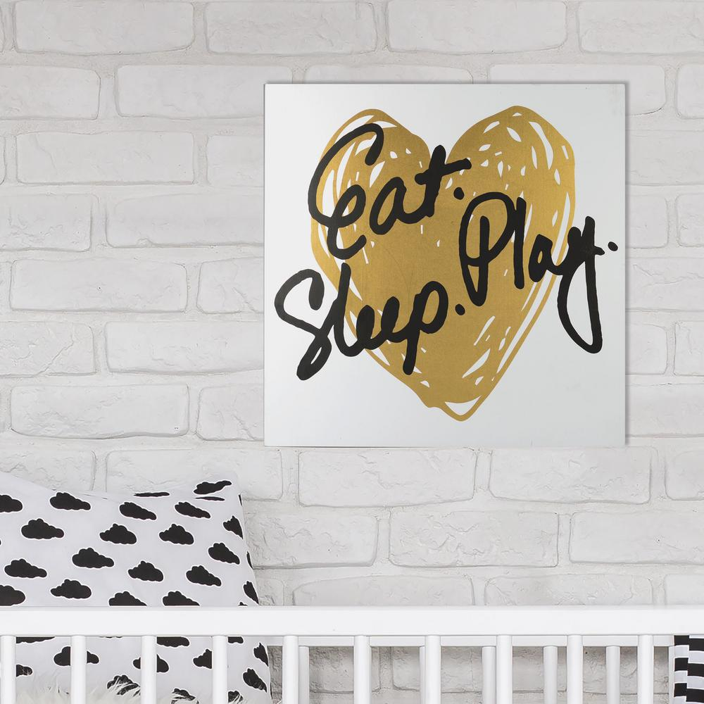 12 in. x 12 in. Eat Play Sleep - Gold 1-Piece