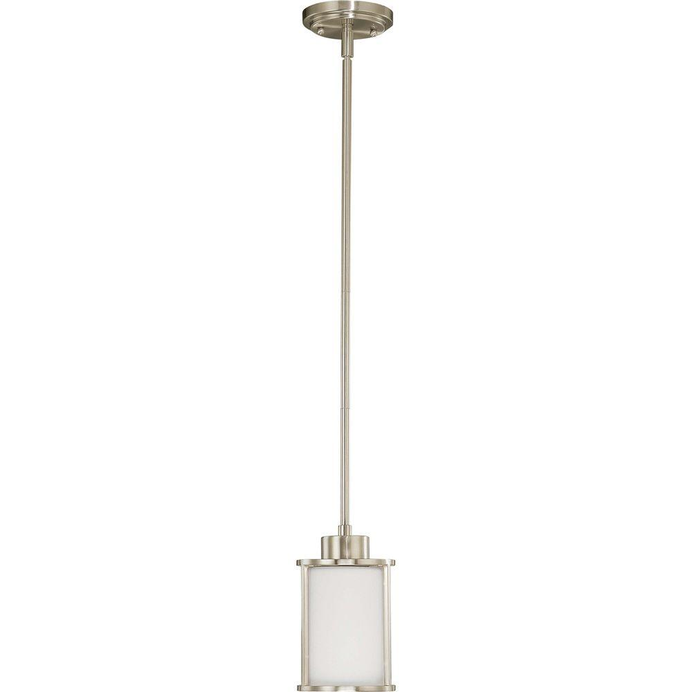 Andra 1-Light Brushed Nickel Mini-Pendant with Satin White Glass