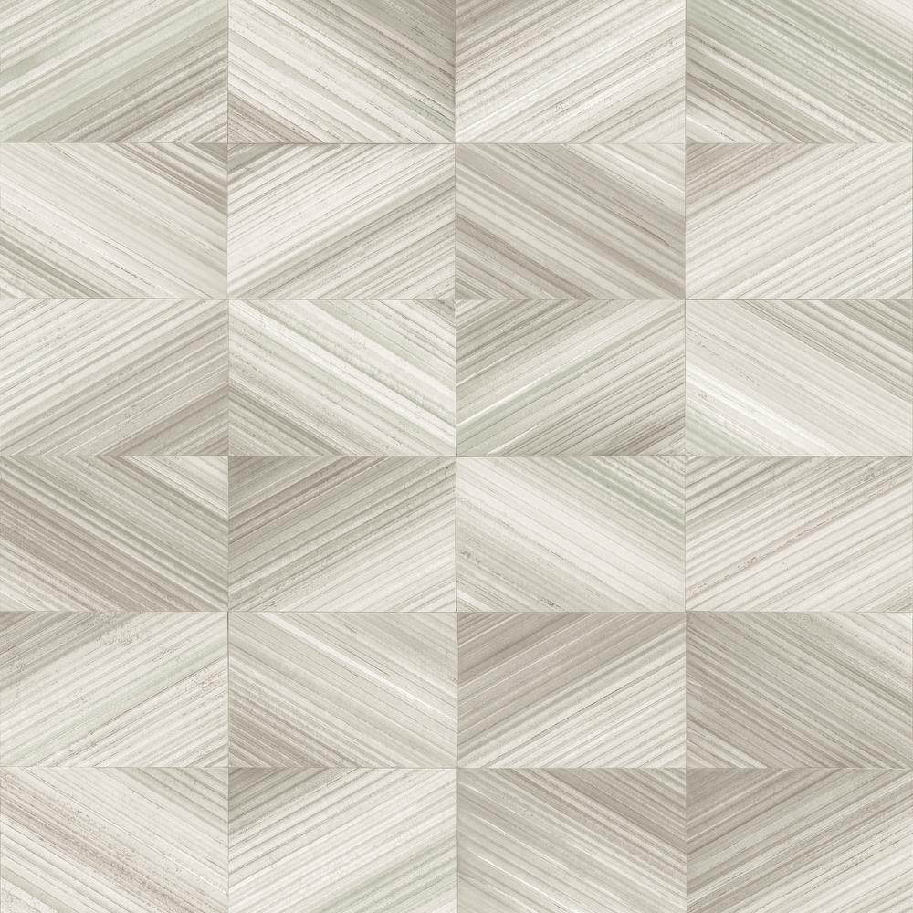 Ulysses Taupe Geometric Wood Wallpaper Sample