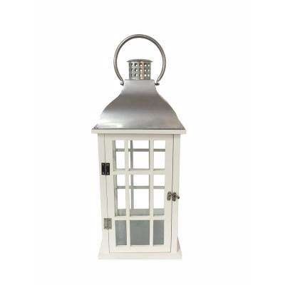 22 in. White Wood and Steel Lantern