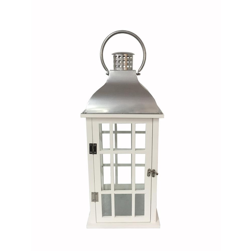 hamptonbay Hampton Bay 22 in. White Wood and Steel Lantern