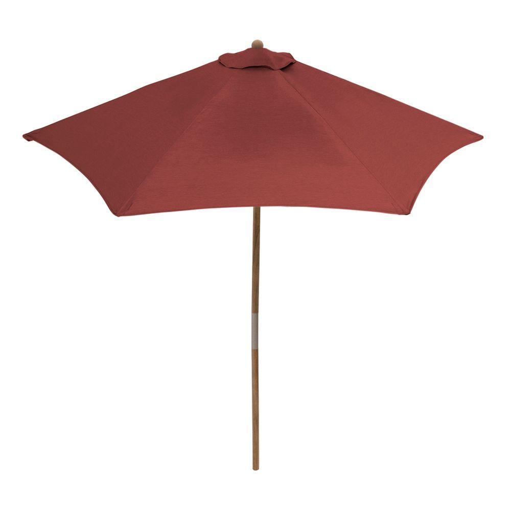 Hampton Bay 9 ft. Teak Patio Umbrella in Sunbrella Canvas Henna