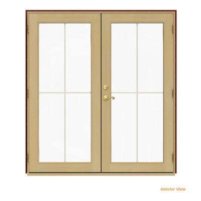 72 in. x 80 in. W-2500 Red Clad Wood Left-Hand 4 Lite French Patio Door w/Unfinished Interior