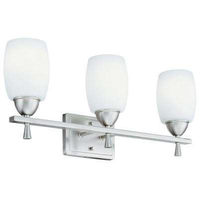 Ferros 3-Light Brushed Nickel Vanity Light
