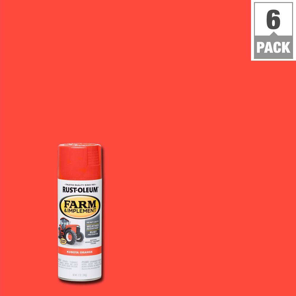 Rust Oleum 12 Oz Farm Implement Kubota Orange Enamel Spray Paint 6