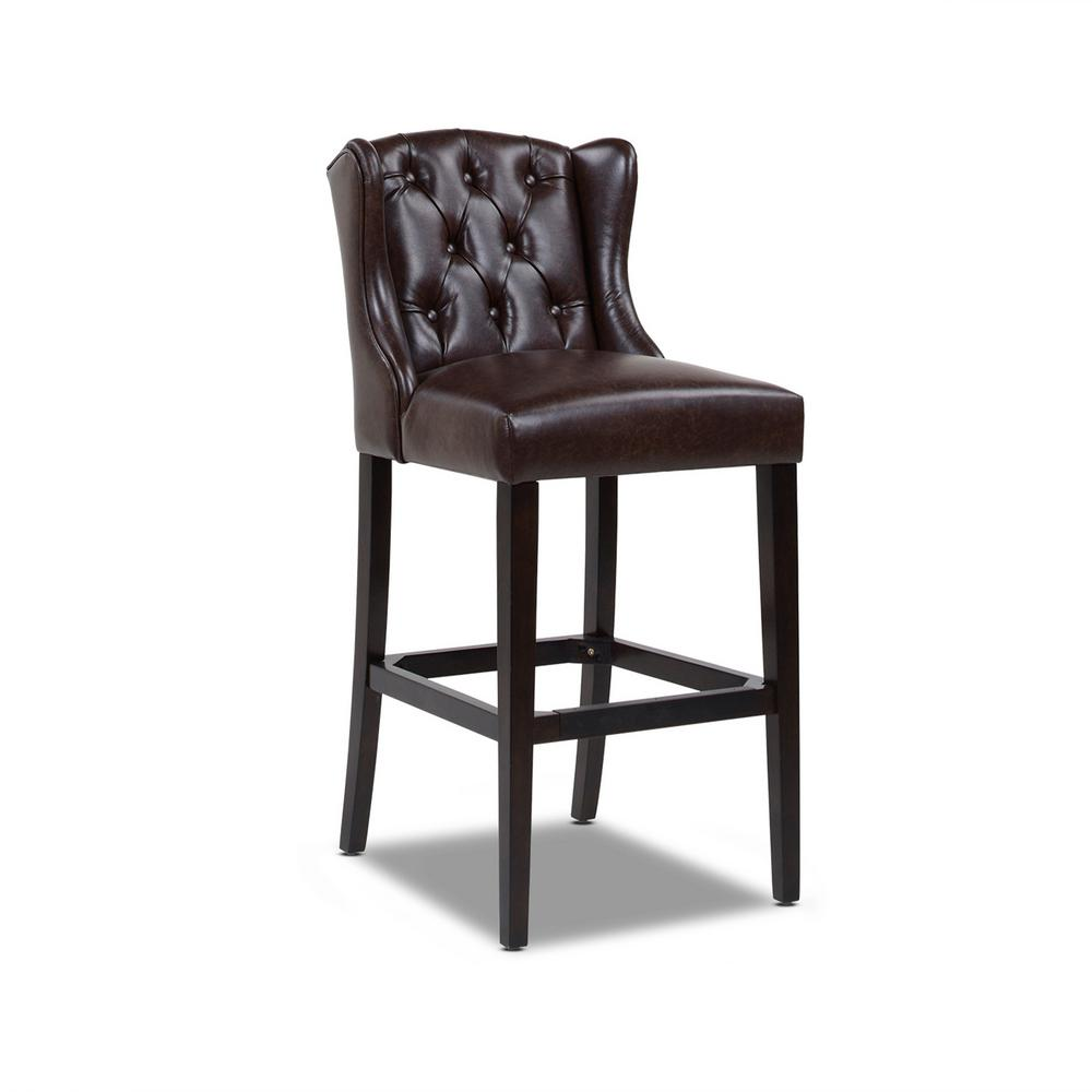 Richmond 30 in. Armless Wingback Tufted Counter Height Bar Stool, Vintage Brown Faux Leather