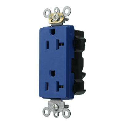 Decora Plus 20 Amp Lev-Lok Modular Device Commercial Grade Self Grounding Duplex Outlet, Blue