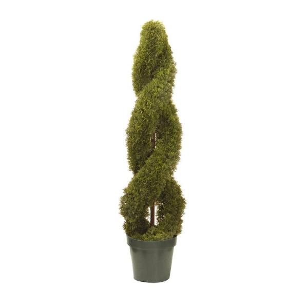 4 ft. Double Cedar Spiral Tree in 9 in. Green Round Growers Pot