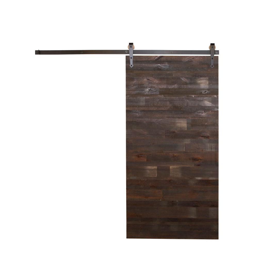 42 in. x 84 in. Reclaimed Horizontal Wood Barn Door with Arrow Sliding Door Hardware Kit