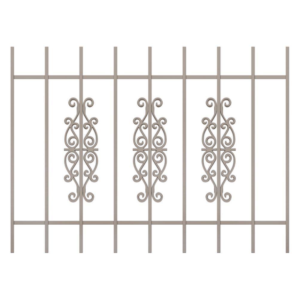 Unique Home Designs Victorian Scrolls 48 in. x 36 in. Tan 9-Bar Window Guard-DISCONTINUED