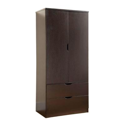 2-Door Red Cocoa Brown with Bottom Drawers  Wooden Wardrobe (70 in.  H x 31.5 in. W x 20.75 in. L)