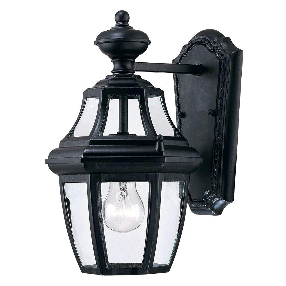 Satin 1-Light Outdoor Black Wall Lantern
