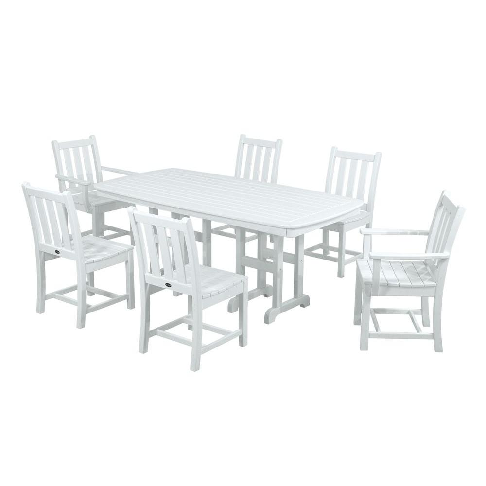 POLYWOOD Traditional Garden White 7 Piece Plastic Outdoor Patio Dining Set