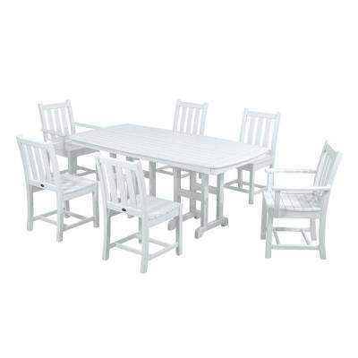 Traditional Garden White 7-Piece Plastic Outdoor Patio Dining Set