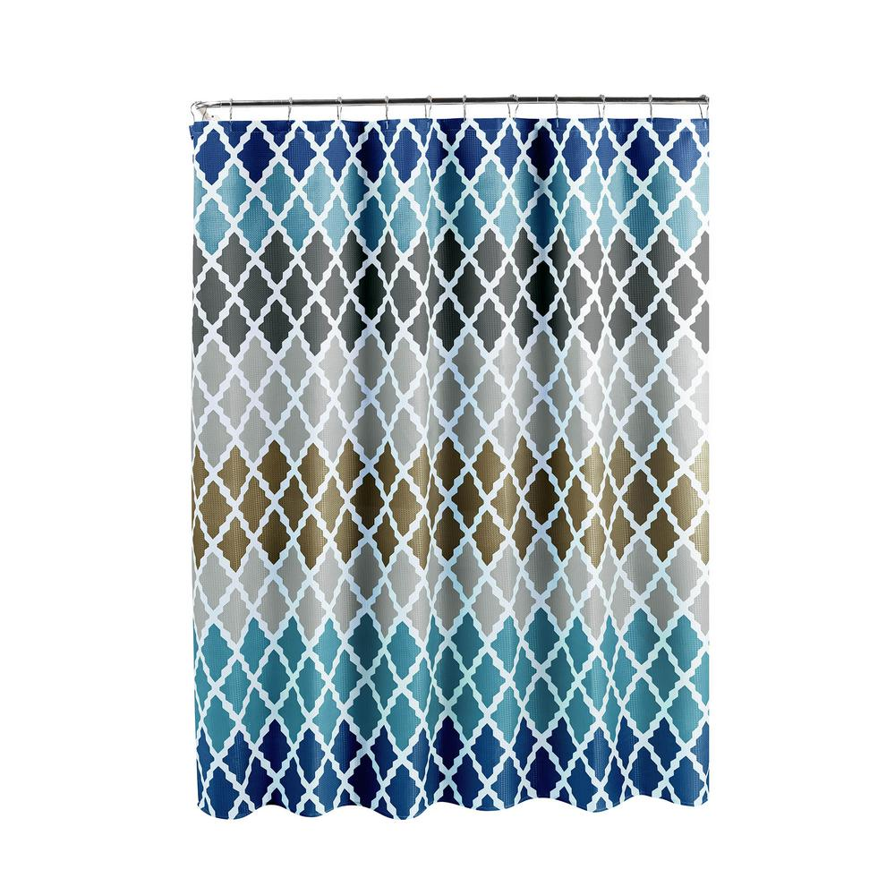 Creative Home Ideas Diamond Weave Textured 70 in. W x 72 in. L Shower Curtain with Metal Roller Rings in Gateway Lattice Blue