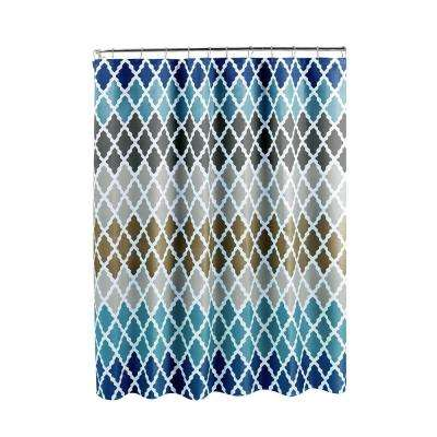 Diamond Weave Textured 70 in. W x 72 in. L Shower Curtain with Metal Roller Rings in Gateway Lattice Blue