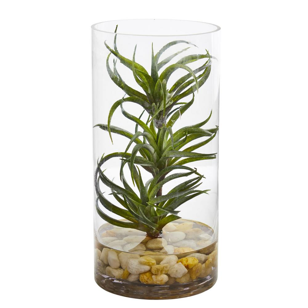 Nearly Natural Indoor Air Plant Artificial Succulent In Gl Vase 8145 The Home Depot