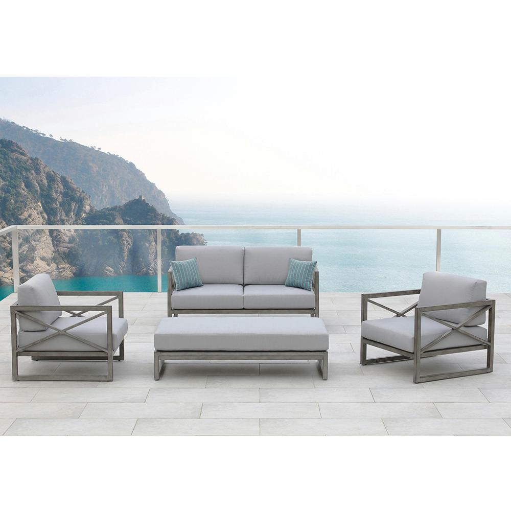 OVE Decors Galia Gray 4-Piece Aluminum Patio Deep Seating Set with Gray Cushions