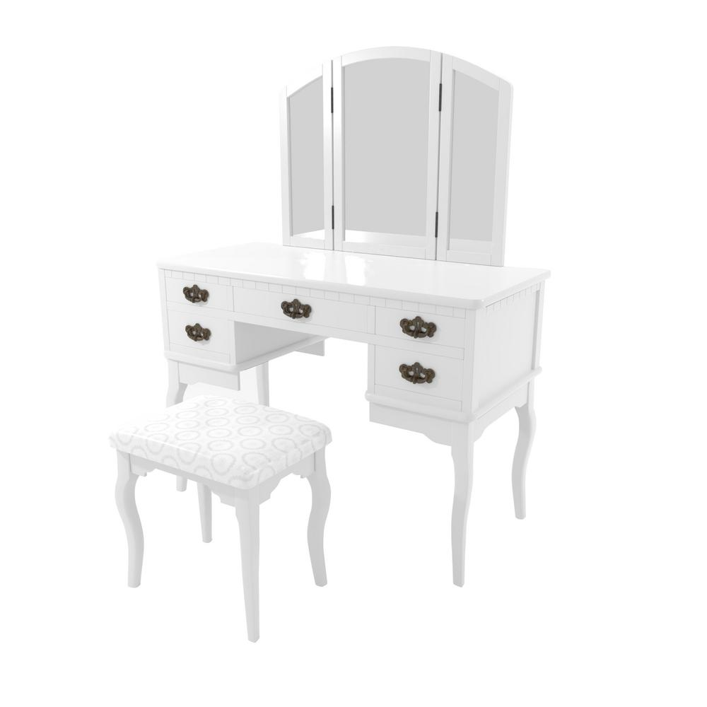 Furniture of America Talia 2-Piece White Antique Drawer Pull Vanity Set - Furniture Of America Talia 2-Piece White Antique Drawer Pull Vanity