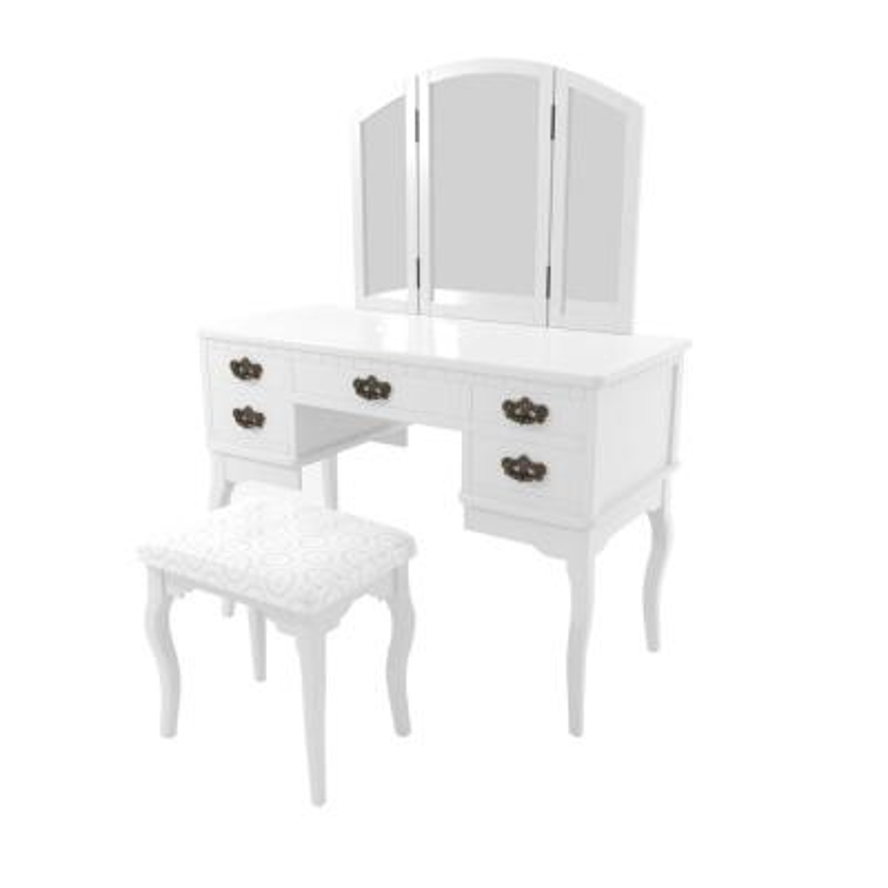 Talia 2-Piece White Antique Drawer Pull Vanity Set