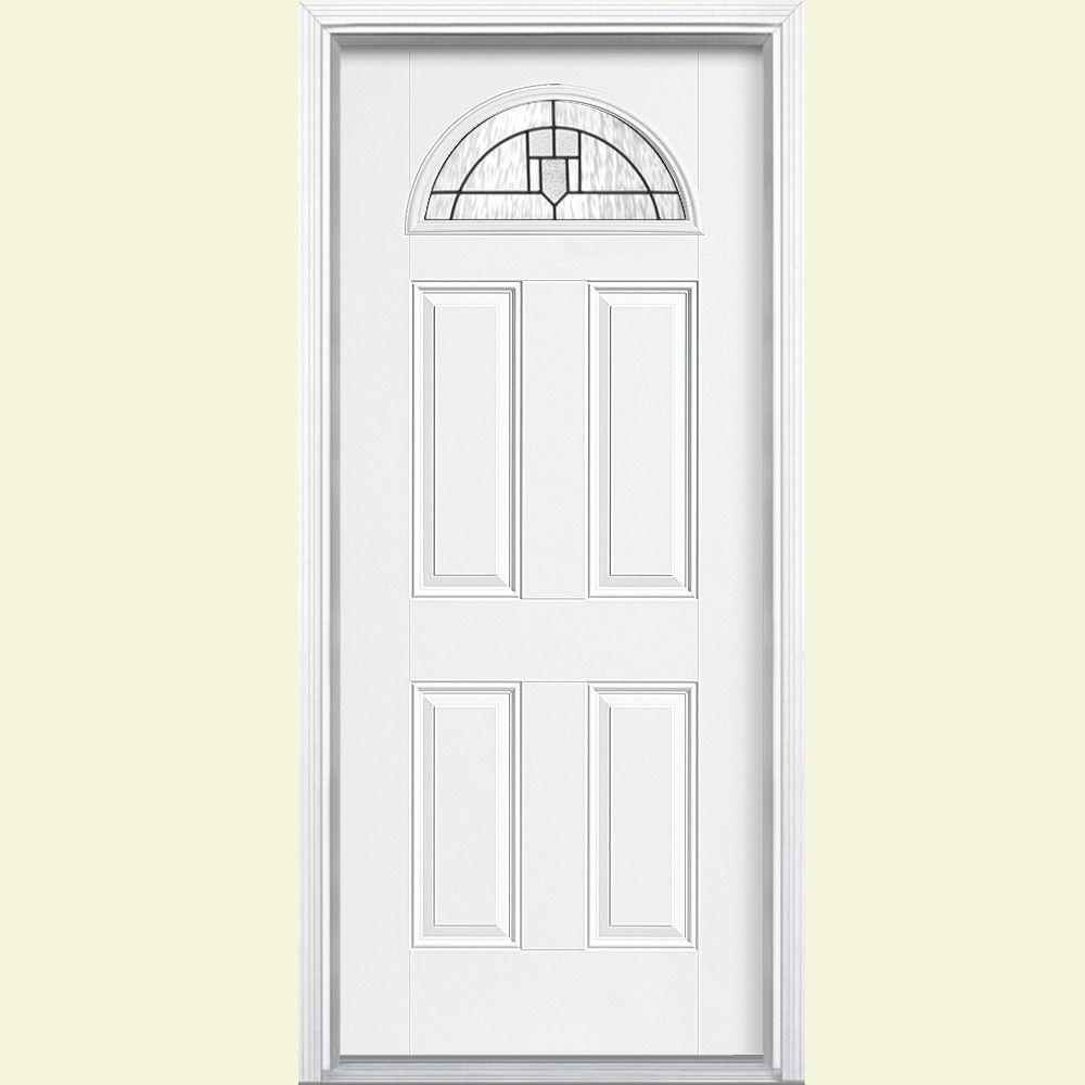 Masonite Glendale Fan Lite Primed Smooth Fiberglass Prehung Front Door with Brickmold-DISCONTINUED