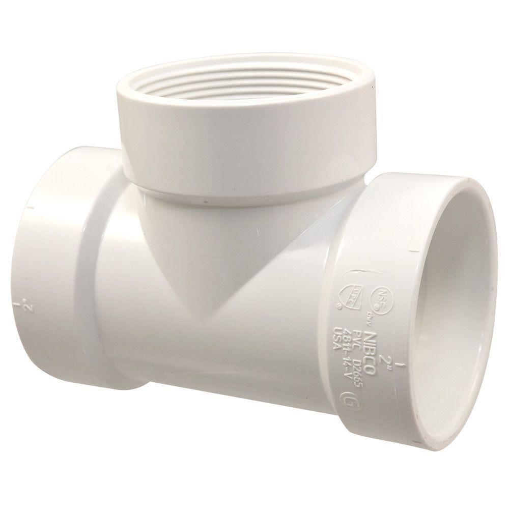 1-1/2 in. PVC DWV Hub x Hub x FIPT Test Tee