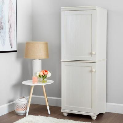 Hopedale White Wash 2-Door Narrow Storage Cabinet