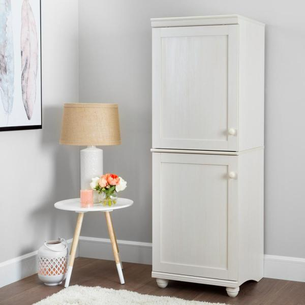 South Shore Hopedale White Wash 2-Door Narrow Storage Cabinet