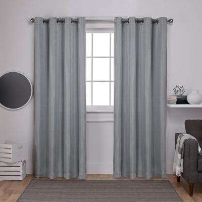 Carling 52 in. W x 96 in. L Woven Blackout Grommet Top Curtain Panel in Aqua (2 Panels)