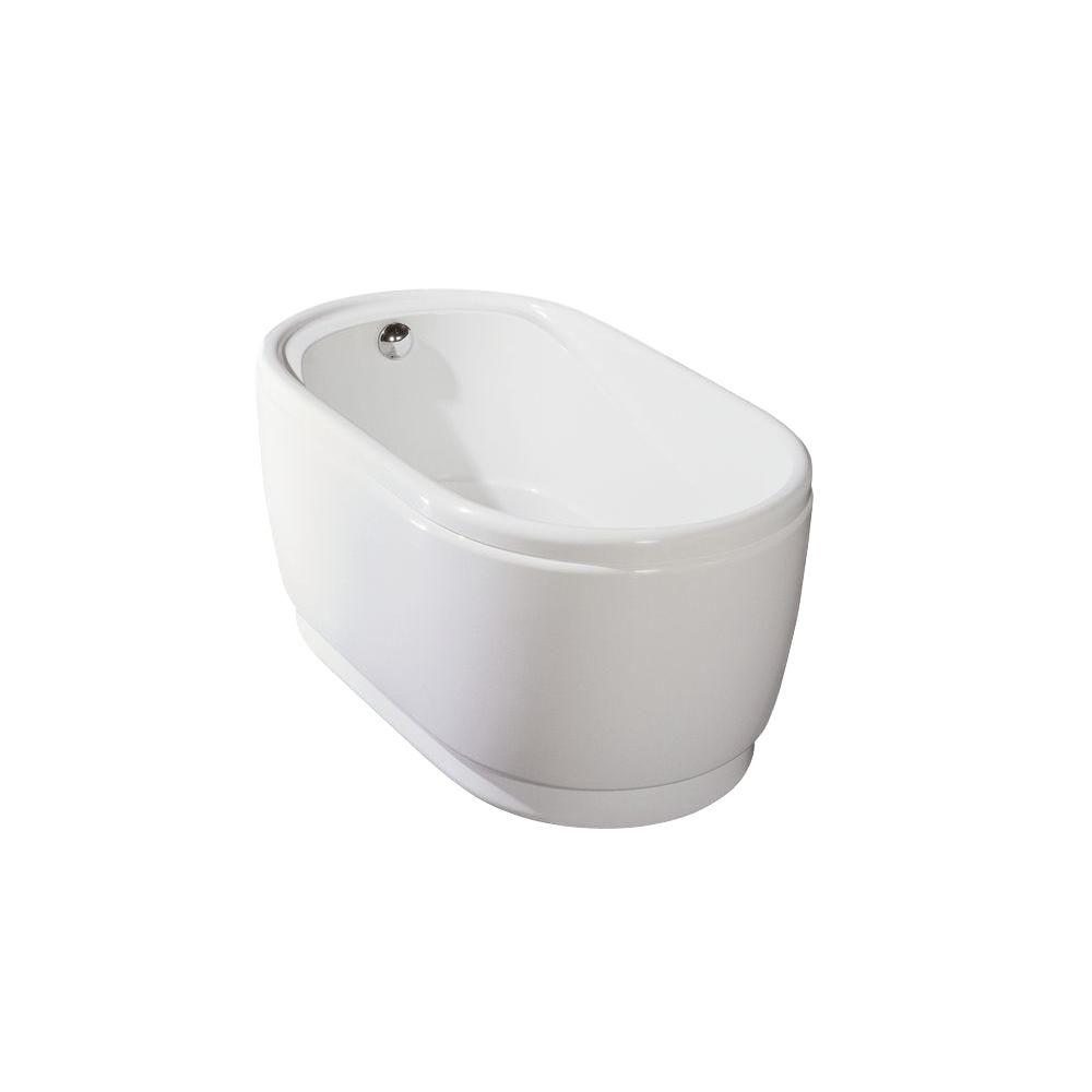Aquatica PureScape 028A 3.94 ft. Acrylic Double Ended Flatbottom Non-Whirlpool Bathtub in White