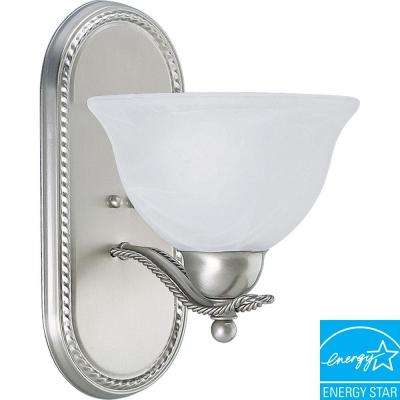 Avalon 1-Light Brushed Nickel Fluorescent Bath Sconce with Alabaster Glass Shade