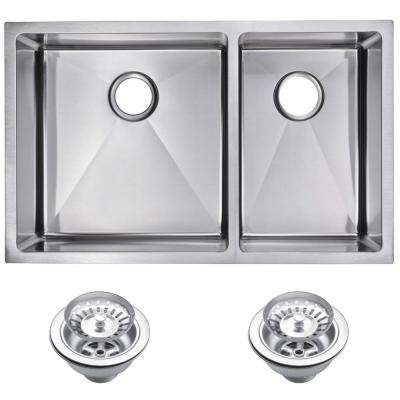 Undermount Stainless Steel 32 in. 60/40 Double Bowl Kitchen Sink with Strainer in Satin
