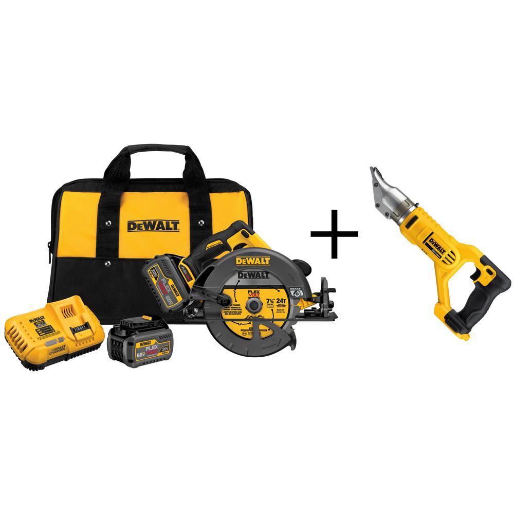 DEWALT FLEXVOLT 60-Volt MAX Lithium-Ion Cordless Brushless 7-1/4 in. Circular Saw w/ (2) Batteries and Bonus Swivel Head Shear