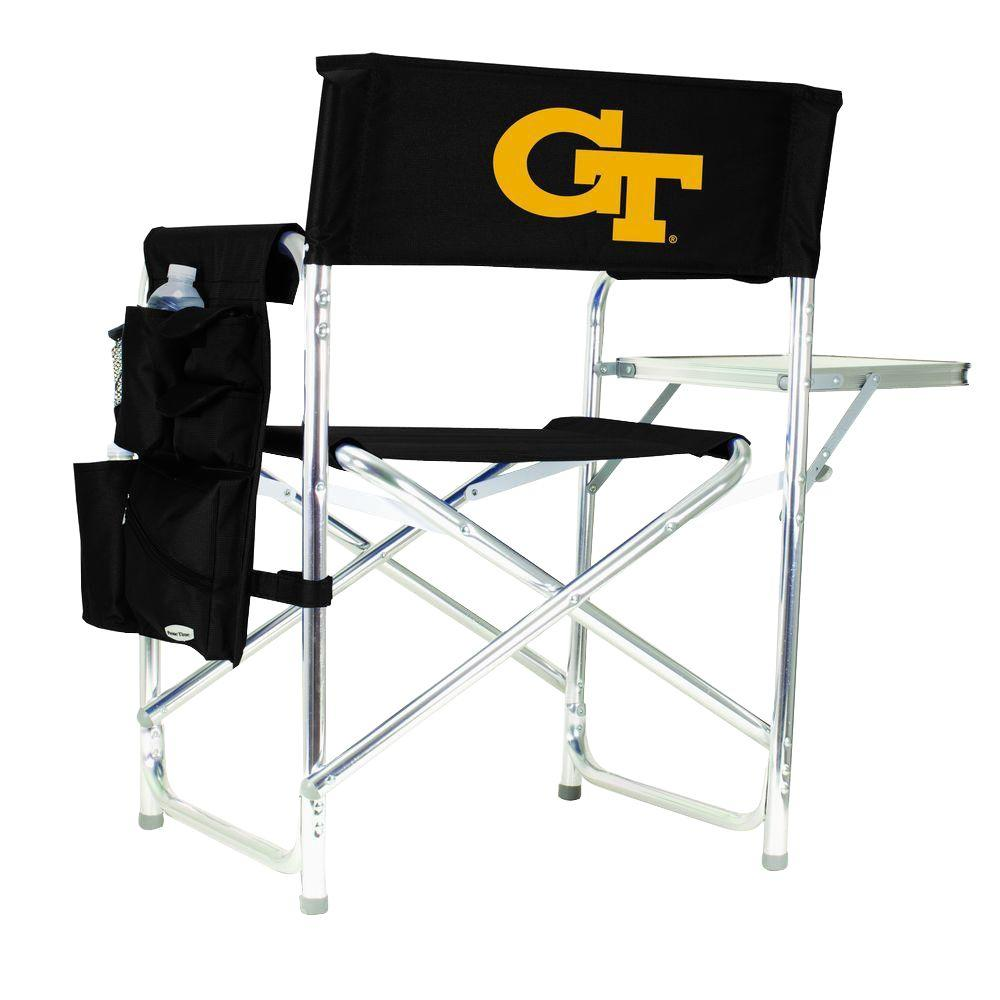 Georgia Tech Black Sports Chair with Digital Logo