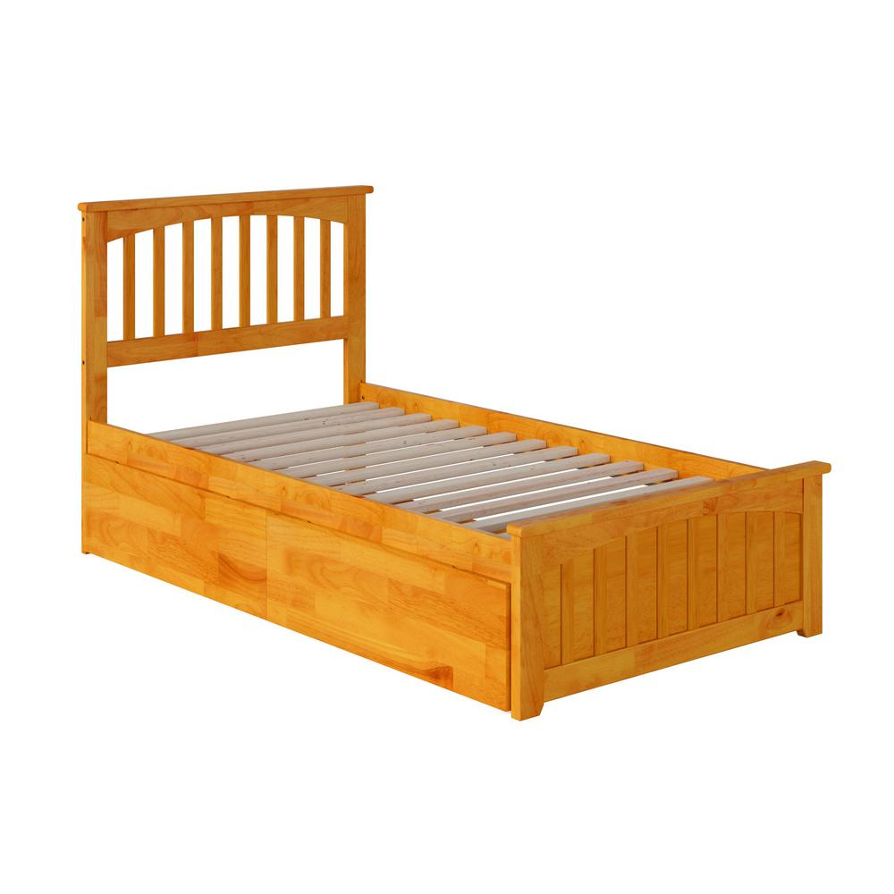 Mission Twin XL Bed with MFB in Caramel Latte