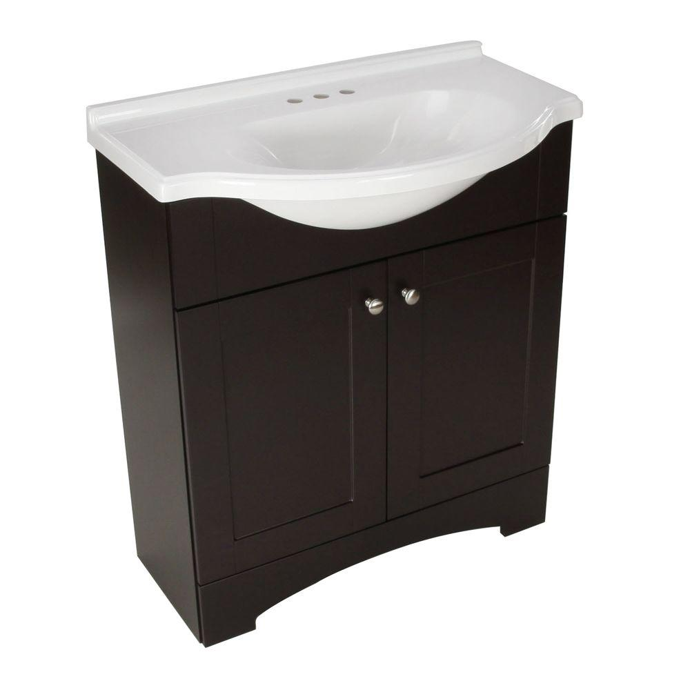 D Bath Vanity in Espresso with AB Engineered Composite Vanity  Top DMSD30P2COM E   The Home Depot. Glacier Bay Del Mar 30 in  W x 19 in  D Bath Vanity in Espresso