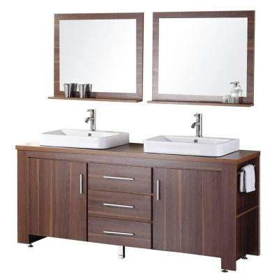 Washington 72 in. W x 22 in. D Vanity in Toffee with Wood Vanity Top and Mirror in Toffee