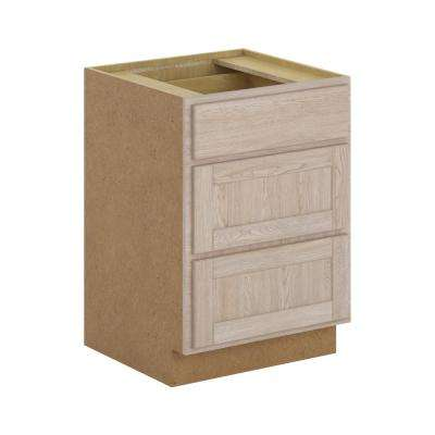 Stratford Assembled 24x34.5x24 in. 3-Drawer Base Cabinet with soft close in Unfinished Oak