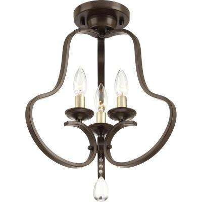 Anjoux Collection 3-Light Antique Bronze Semi-Flush Mount