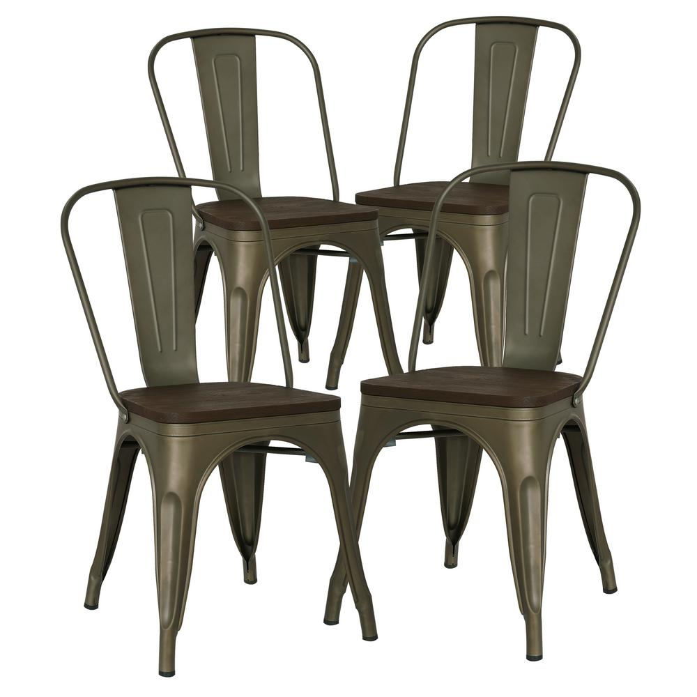 Poly and Bark Poly and Bark Trattoria Bronze Side Chair with Elm Wood Seat (Set of 4)