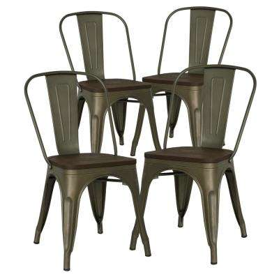 Trattoria Bronze Side Chair with Elm Wood Seat (Set of 4)