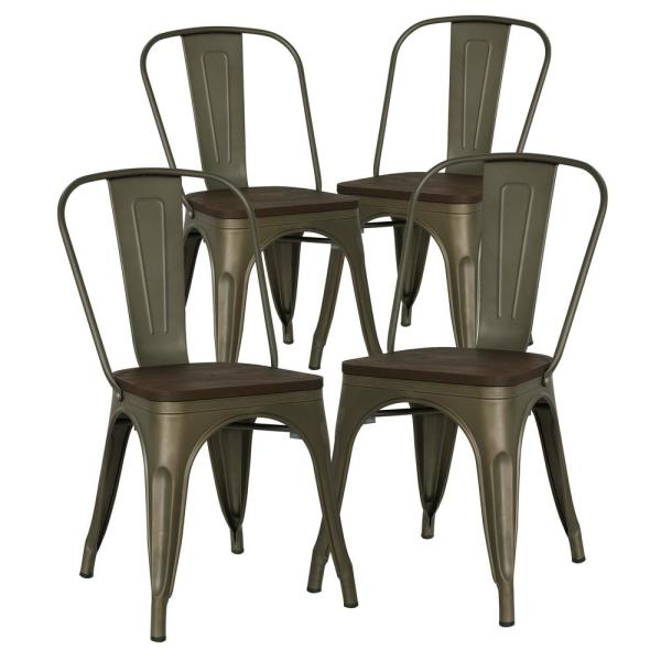 Poly and Bark Trattoria Bronze Side Chair with Elm Wood Seat
