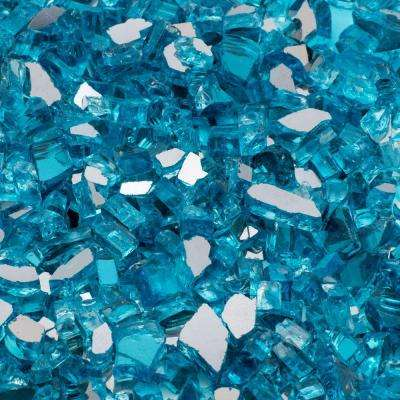 1/2 in. 10 lb. Medium Caribbean Blue Reflective Tempered Fire Glass