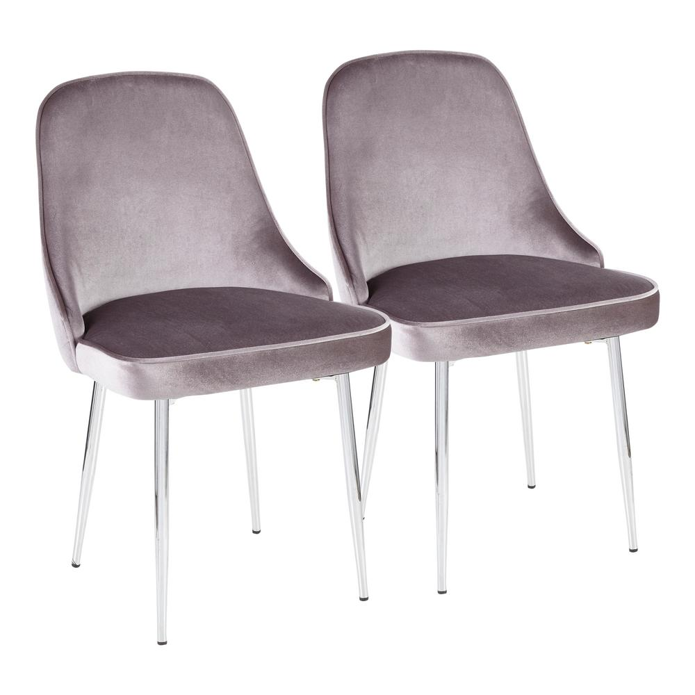 Lumisource Chrome And Silver Marcel Velvet Dining Chair Set Of 2 Dc Marcl Sv2 The Home Depot