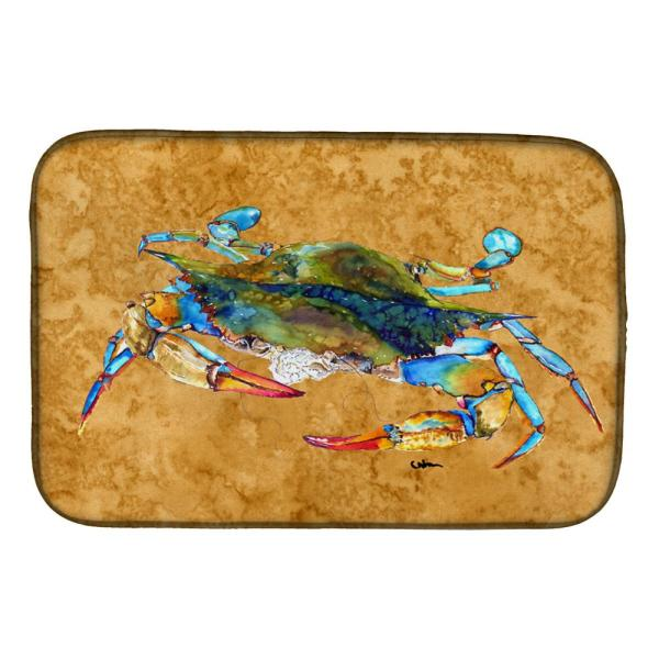 Caroline S Treasures 14 In X 21 In Multi Color Crab Dish Drying Mat 8655ddm The Home Depot