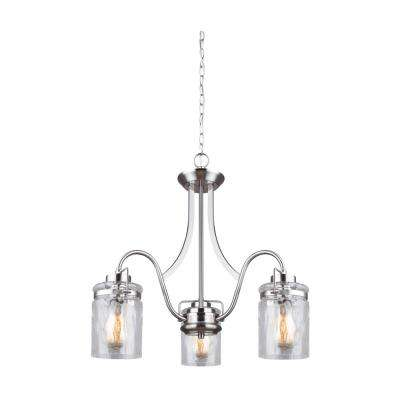 Arden 3-Light Brushed Nickel Chandelier with Watermark Glass Shades