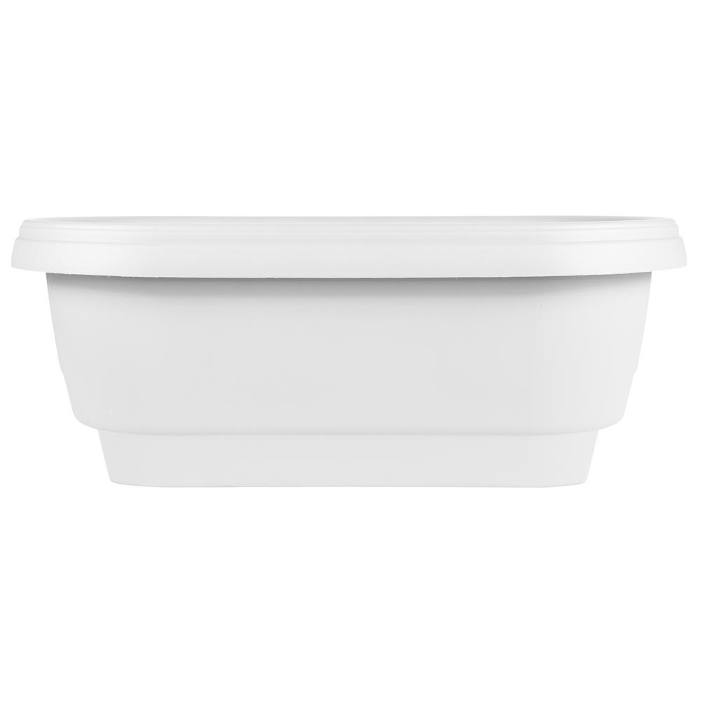 Bloem 24 in. x 9 in. Casper White Plastic Deck Rail Planter