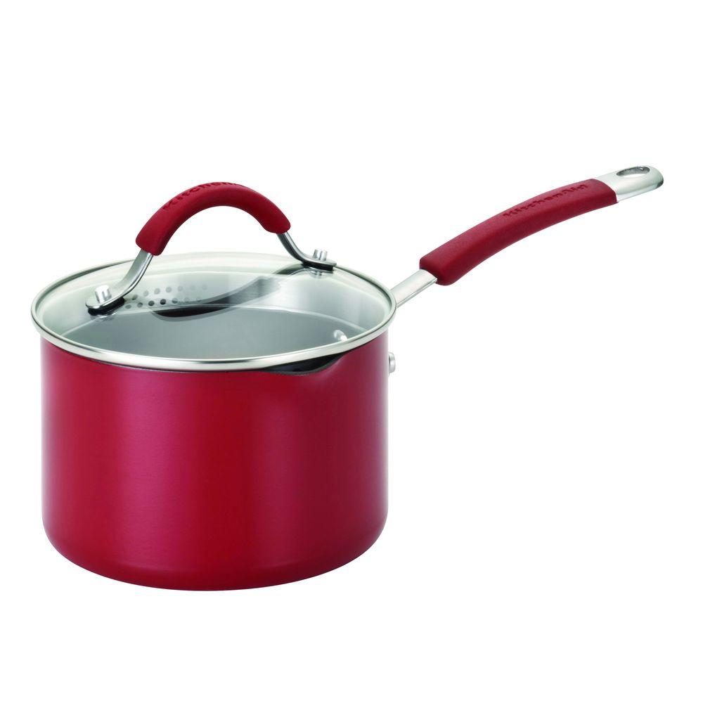 KitchenAid 2 qt. Covered Straining Saucepan w/ Pour Spouts in Red-DISCONTINUED