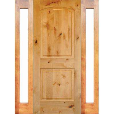64 in. x 80 in. Rustic Unfinished Knotty Alder Arch-Top Right-Hand Double Full Sidelites Clear Glass Prehung Front Door