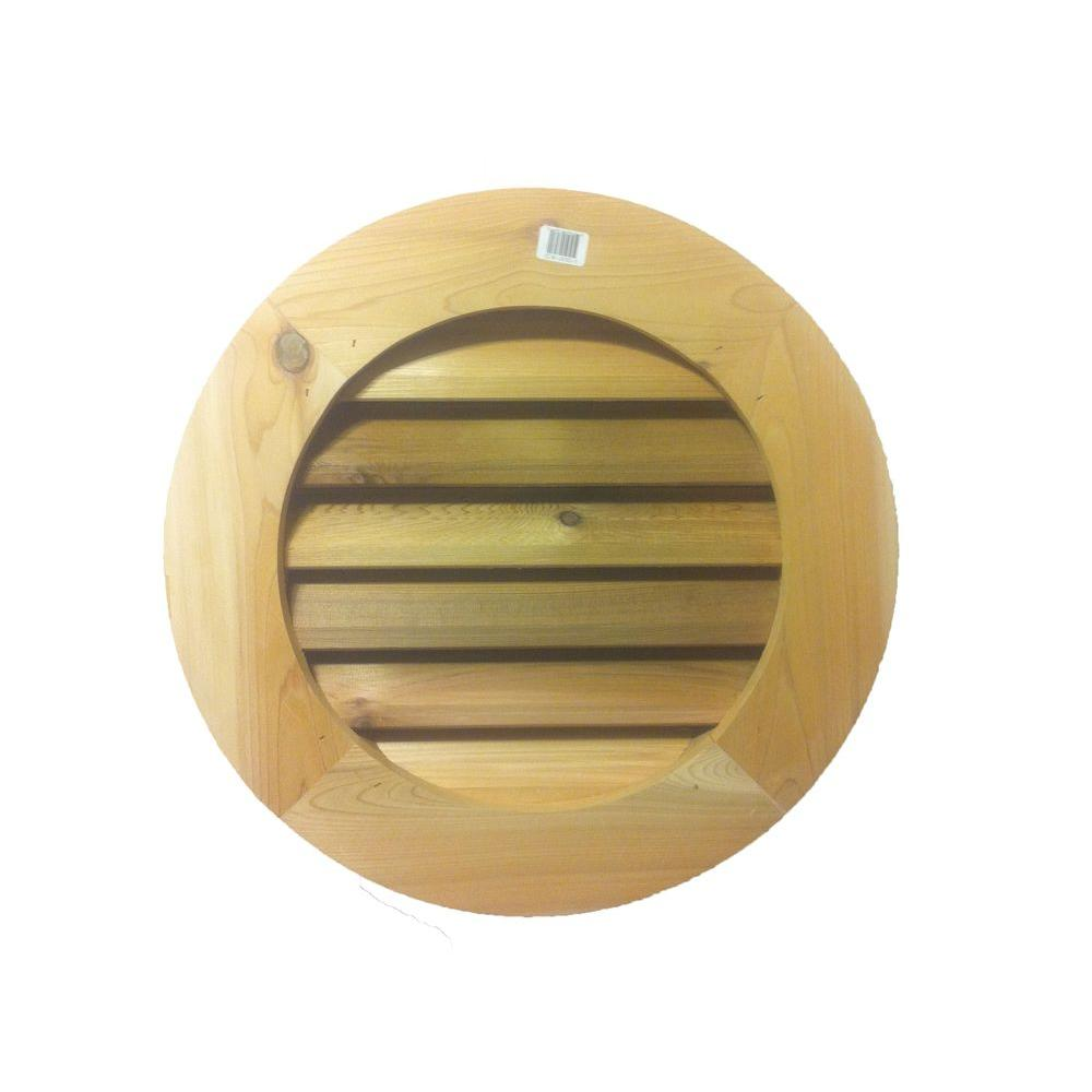 Al's Millworks 18 in. Wood Round Louver Gable Vent